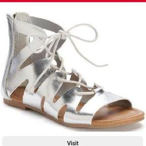 MUDD GIRLS Silver Gladiator Sandals